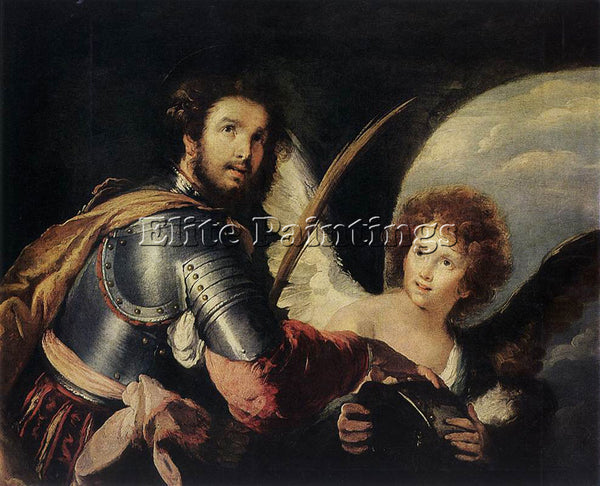 STROZZI BERNARDO ST MAURICE AND THE ANGEL ARTIST PAINTING REPRODUCTION HANDMADE