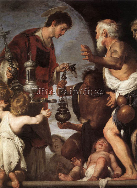 STROZZI BERNARDO THE CHARITY OF ST LAWRENCE 1639 40 ARTIST PAINTING REPRODUCTION
