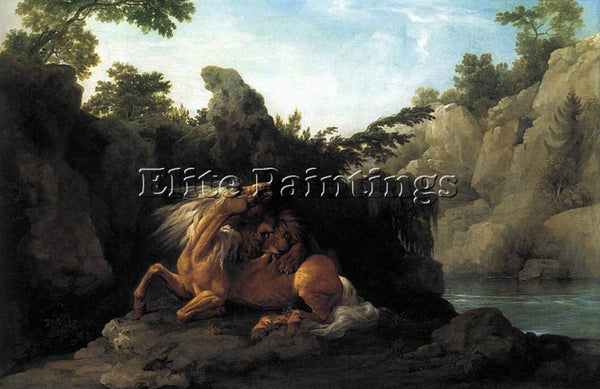 STUBBS GEORGE LION DEVOURING A HORSE ARTIST PAINTING REPRODUCTION HANDMADE OIL