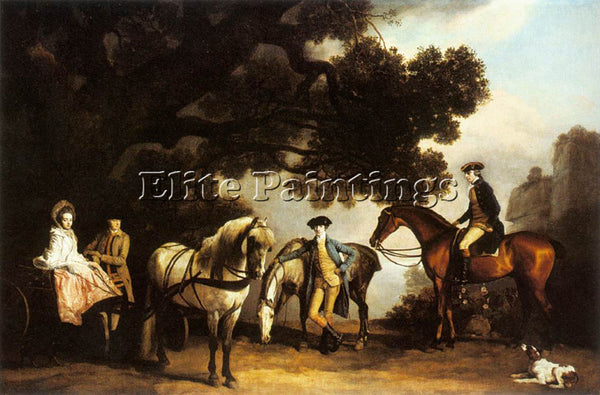 STUBBS GEORGE THE MILBANKE AND MELBOURNE FAMILIES ARTIST PAINTING REPRODUCTION