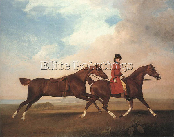 STUBBS GEORGE WILLIAM ANDERSON WITH TWO SADDLE HORSES ARTIST PAINTING HANDMADE