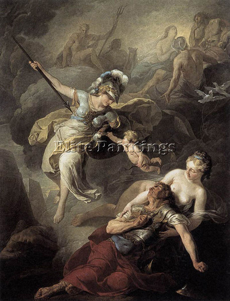 BELGIAN SUVEE JOSEPH BENOIT THE COMBAT OF MARS AND MINERVA ARTIST PAINTING REPRO