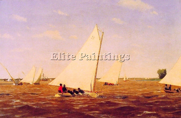 THOMAS EAKINS SAILBOATS RACING ON THE DELEWARE ARTIST PAINTING REPRODUCTION OIL