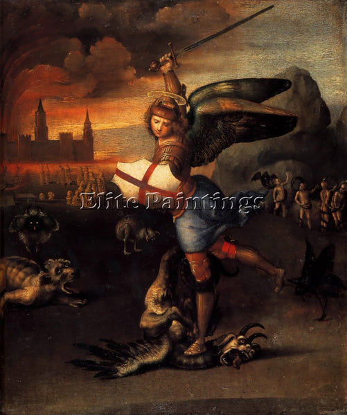 RAPHAEL SAINT MICHAEL AND THE DRAGON ARTIST PAINTING REPRODUCTION HANDMADE OIL