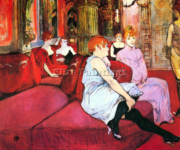 TOULOUSE-LAUTREC SALON IN THE RUE DE MOULINS ARTIST PAINTING HANDMADE OIL CANVAS