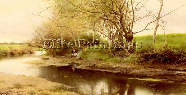 EMILIO SANCHEZ-PERRIER A CAMPFIRE BY THE RIVER S EDGE ARTIST PAINTING HANDMADE