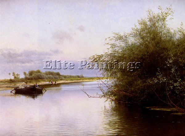 EMILIO SANCHEZ-PERRIER FISHERMAN AND WASHERWOMEN BY THE RIVER PAINTING HANDMADE