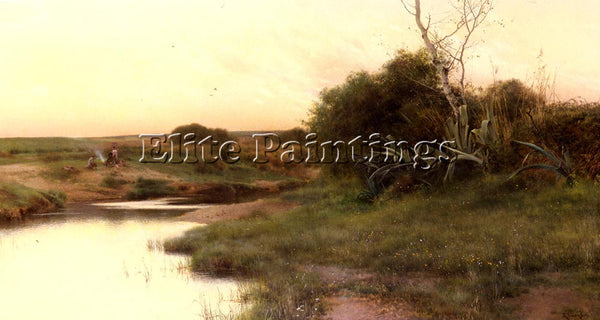 EMILIO SANCHEZ-PERRIER ON THE RIVER S EDGE AT DUSK ARTIST PAINTING REPRODUCTION