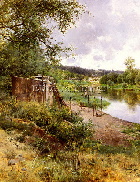 EMILIO SANCHEZ-PERRIER ON THE RIVER BANK ARTIST PAINTING REPRODUCTION HANDMADE
