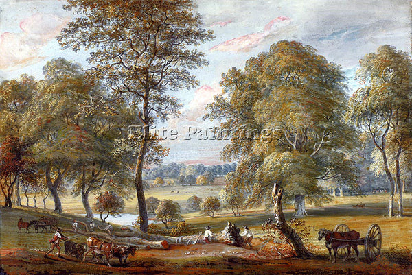 PAUL SANDBY FORESTERS IN WINDSOR GREAT PARK ARTIST PAINTING HANDMADE OIL CANVAS