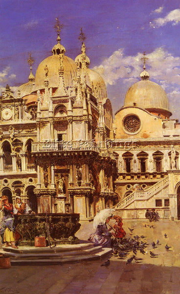 SPANISH SANZ ULPIANO CHECA Y PIAZZA SAN MARCO ARTIST PAINTING REPRODUCTION OIL