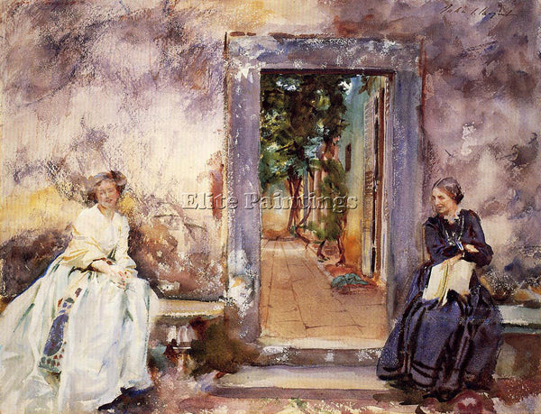 JOHN SINGER SARGENT THE GARDEN WALL ARTIST PAINTING REPRODUCTION HANDMADE OIL