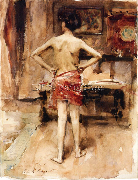 JOHN SINGER SARGENT THE MODEL INTERIOR WITH STANDING FIGURE ARTIST PAINTING OIL