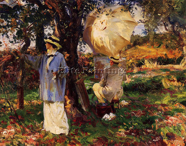 JOHN SINGER SARGENT THE SKETCHERS ARTIST PAINTING REPRODUCTION HANDMADE OIL DECO