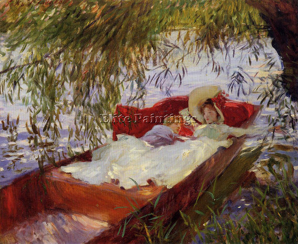 JOHN SINGER SARGENT TWO WOMEN ASLEEP IN A PUNT UNDER THE WILLOWS ARTIST PAINTING