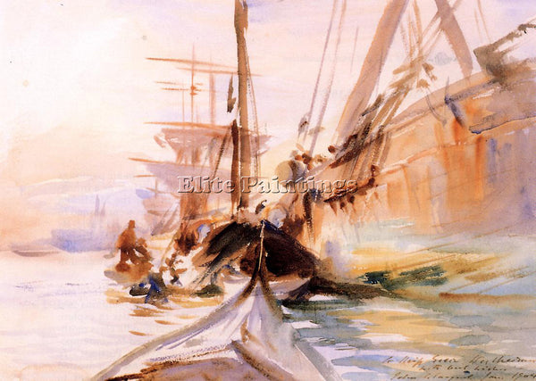 JOHN SINGER SARGENT UNLOADING BOATS VENICE ARTIST PAINTING REPRODUCTION HANDMADE
