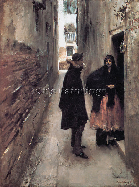 JOHN SINGER SARGENT STREET IN VENICE ARTIST PAINTING REPRODUCTION HANDMADE OIL