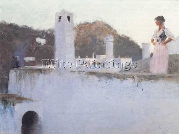 JOHN SINGER SARGENT VIEW OF CAPRI ARTIST PAINTING REPRODUCTION HANDMADE OIL DECO
