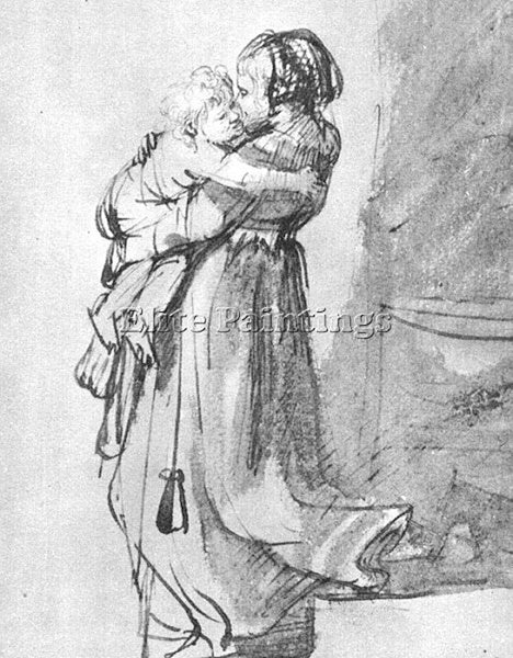 REMBRANDT SASKIA WITH A CHILD ARTIST PAINTING REPRODUCTION HANDMADE CANVAS REPRO