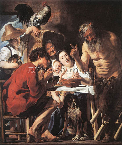 JACOB JORDAENS SATYR AND PEASANT ARTIST PAINTING REPRODUCTION HANDMADE OIL REPRO
