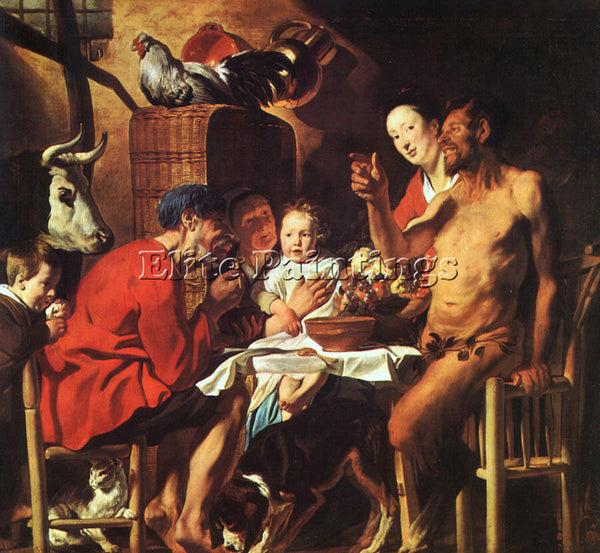 JACOB JORDAENS SATYR AT THE PEASANTS HOUSE ARTIST PAINTING REPRODUCTION HANDMADE