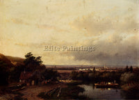 AUSTRIAN SCHELFHOUT ANDREAS A SUMMER LANDSCAPE WITH A FERRY ARTIST PAINTING OIL