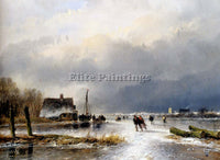 SCHELFHOUT ANDREAS WINTER LANDSCAPE WITH SKATERS ON FROZEN WATERWAY PAINTING OIL