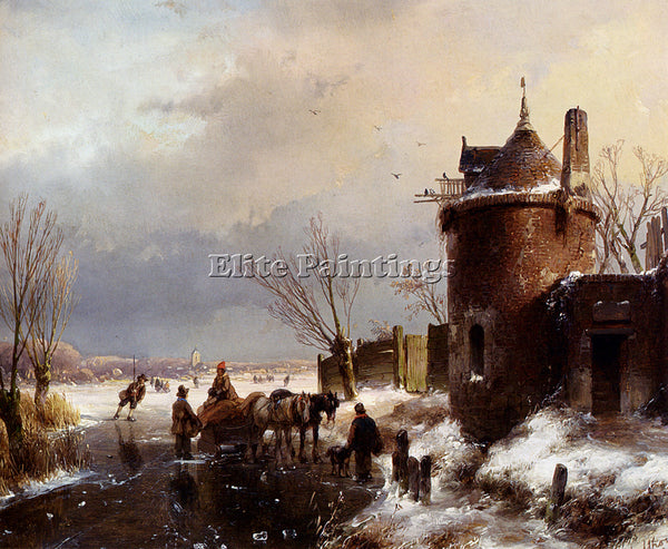 AUSTRIAN SCHELFHOUT FIGURES WITH HORSE SLEDGE ON ICE TOWN IN DISTANCE ARTIST OIL