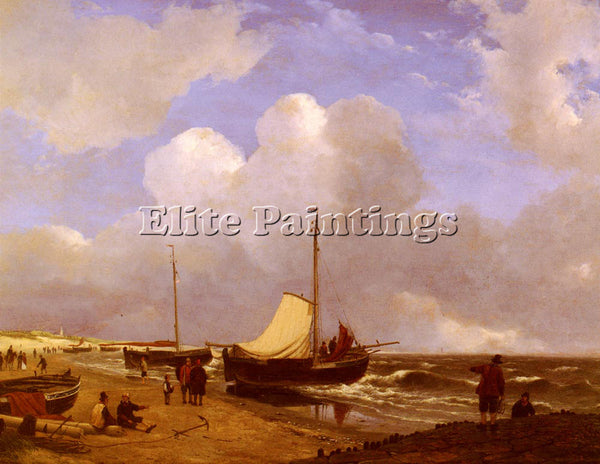AUSTRIAN SCHELFHOUT ANDREAS MOORED ON THE BEACH ARTIST PAINTING REPRODUCTION OIL