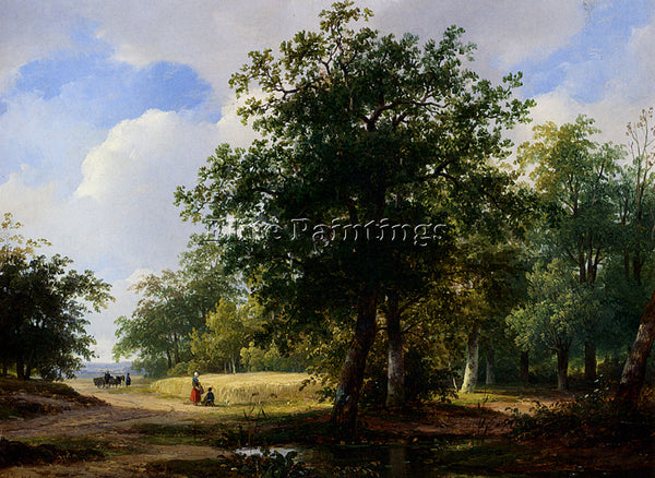 AUSTRIAN SCHELFHOUT ANDREAS PEASANTS IN A CORNFIELD ARTIST PAINTING REPRODUCTION