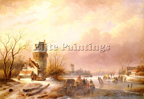 AUSTRIAN SCHELFHOUT ANDREAS SKATERS ON A FROZEN RIVER ARTIST PAINTING HANDMADE