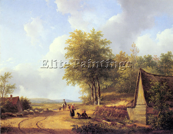 AUSTRIAN SCHELFHOUT ANDREAS THE COUNTRY ROAD ARTIST PAINTING HANDMADE OIL CANVAS