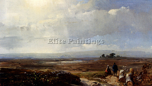 AUSTRIAN SCHELFHOUT ANDREAS TRAVELLERS IN AN EXTENSIVE LANDSCAPE ARTIST PAINTING