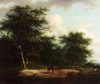 AUSTRIAN SCHELFHOUT ANDREAS TWO FIGURES IN A SUMMER LANDSCAPE PAINTING HANDMADE