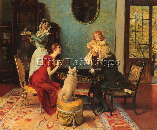 AUSTRIAN SCHMUTZLER LEOPOLD THE CENTER OF ATTENTION ARTIST PAINTING REPRODUCTION