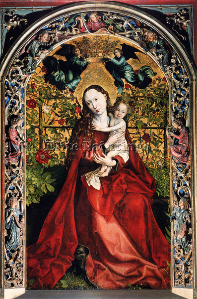 MARTIN SCHONGAUER MADONNA OF THE ROSE BOWER ARTIST PAINTING HANDMADE OIL CANVAS