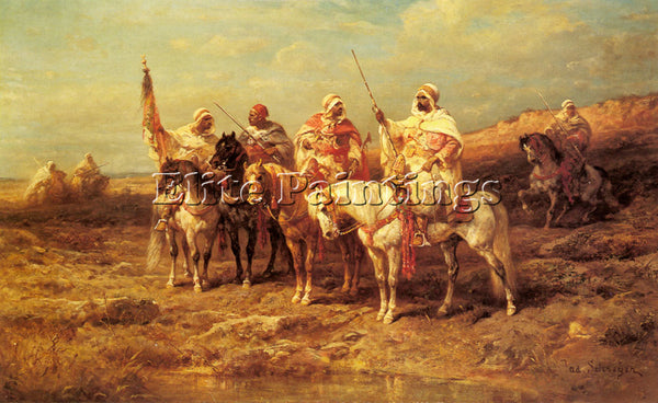 ADOLF SCHREYER ARAB HORSEMAN BY A WATERING HOLE ARTIST PAINTING REPRODUCTION OIL