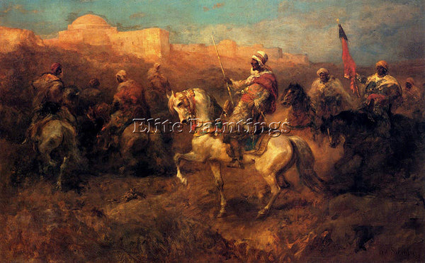 ADOLF SCHREYER ARAB HORSEMEN ON THE MARCH ARTIST PAINTING REPRODUCTION HANDMADE