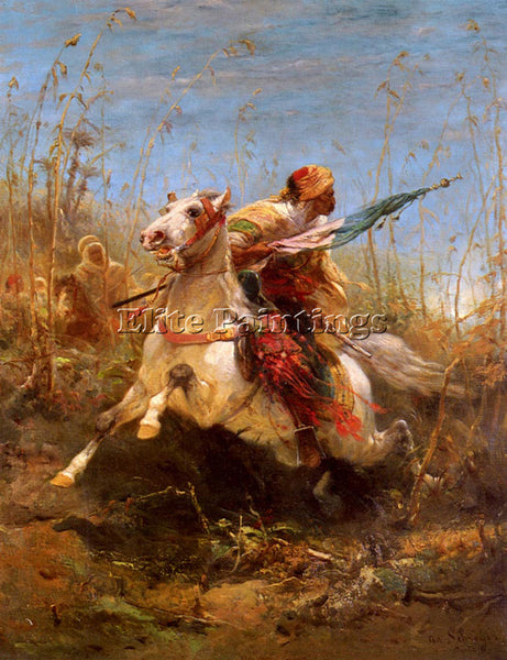 ADOLF SCHREYER ARAB WARRIOR LEADING A CHARGE 1 ARTIST PAINTING REPRODUCTION OIL