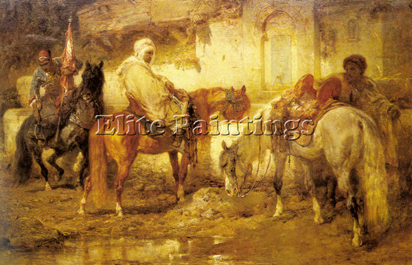 ADOLF SCHREYER AT THE WATERING PLACE 1 ARTIST PAINTING REPRODUCTION HANDMADE OIL