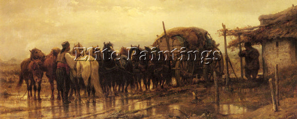 ADOLF SCHREYER HITCHING HORSES TO THE WAGON ARTIST PAINTING HANDMADE OIL CANVAS
