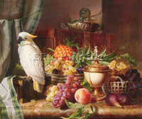 AUSTRIAN SCHUSTER JOSEF STILL LIFE WITH FRUIT AND A COCKATOO ARTIST PAINTING OIL