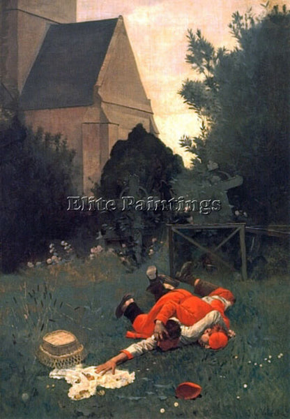 JEHAN GEORGES VIBERT SCRAMBLE FOR THE LUNCH ARTIST PAINTING HANDMADE OIL CANVAS