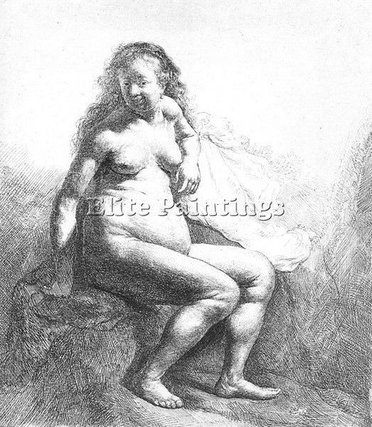 REMBRANDT SEATED FEMALE NUDE ARTIST PAINTING REPRODUCTION HANDMADE CANVAS REPRO