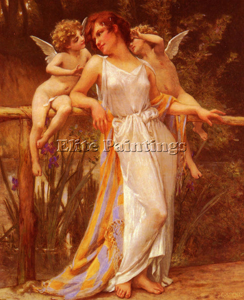 GUILLAUME SEIGNAC NYMPHE AVEC PUTTIS ARTIST PAINTING REPRODUCTION HANDMADE OIL