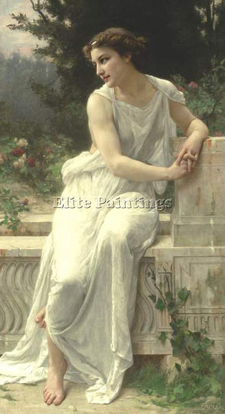 GUILLAUME SEIGNAC YOUNG WOMAN OF POMPEII ON A TERRACE ARTIST PAINTING HANDMADE