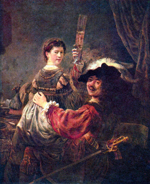 REMBRANDT SELF PORTRAIT WITH SASKIA ARTIST PAINTING REPRODUCTION HANDMADE OIL