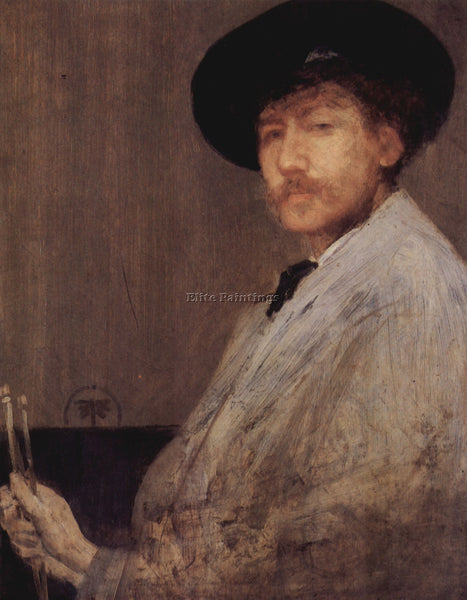 JAMES ABBOT MCNEILL SELF PORTRAIT 1 WHISTLER ARTIST PAINTING HANDMADE OIL CANVAS