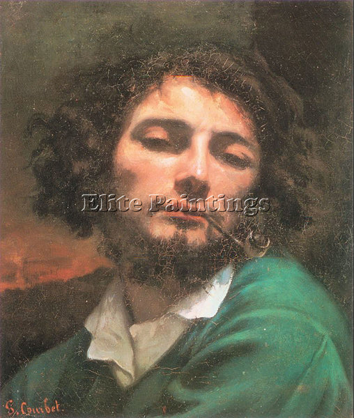 GUSTAVE COURBET SELF PORTRAIT MAN WITH A PIPE ARTIST PAINTING REPRODUCTION OIL