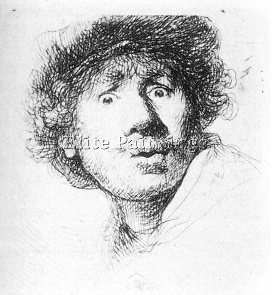 REMBRANDT SELF PORTRAIT STARING ARTIST PAINTING REPRODUCTION HANDMADE OIL CANVAS